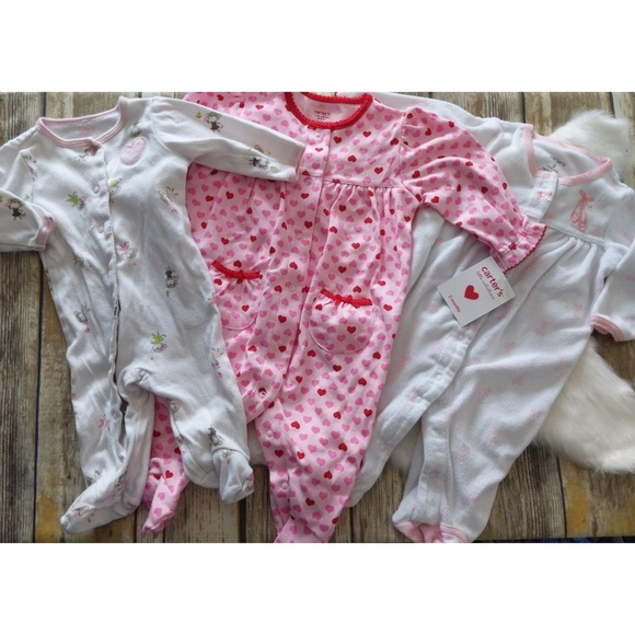 CARTER/'S BABY OUTFIT GIRL/'S FOOTED SLEEP AND PLAY HEARTS NWT MULTICOLOR
